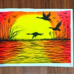Beautiful sunset scenery with birds - easy oil pastel drawing for beginners